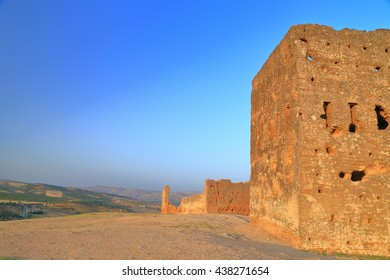 Remains of the Marinid (Merenid) tombs at sunset, Fes, Morocc