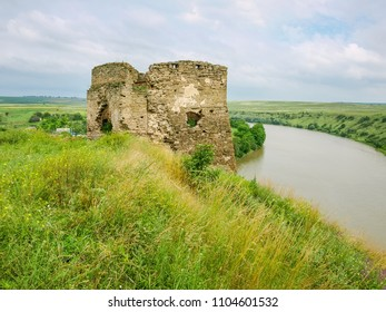 Remains of medieval castle built in the 15th century in village Zhvanets. North riverside pentagonal stone tower, Khmelnytskyi oblast, Ukraine