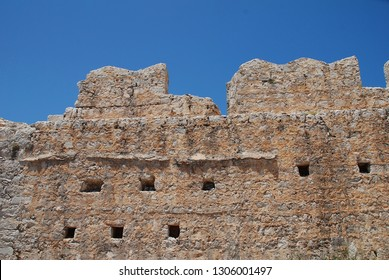 The remains of the medieval Crusader Knights castle above Chorio on the Greek island of Halki.