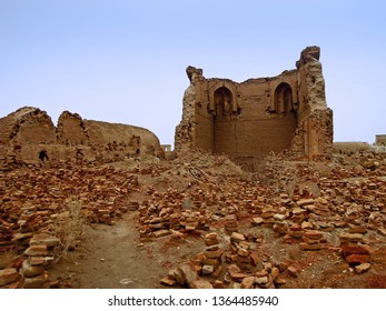 Remains of medieval mosque madrasah of Caliph Rajab, or World Clock (local folk name). One of most ancient buildings in Central Asia. Located in necropolis Mizdakhan, Xojayli, near Nukus, Uzbekistan