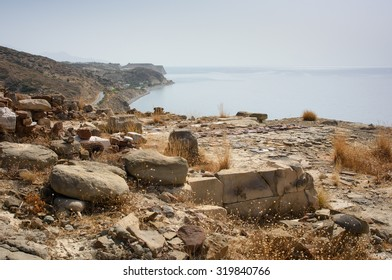 Remains of a Minoan settlement from the second millennium BC, at Myrtos, Crete. This hilltop habitation is in an ideal, defensive position, commanding a view along the coast.
