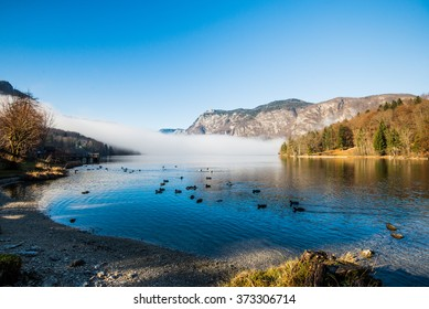 Remains of morning mist on lake Bohinj, Slovenia.