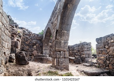 The remains of an oil refinery on the ruins of the ancient Jewish city of Gamla on the Golan Heights destroyed by the armies of the Roman Empire in the 67th year AD, Israel