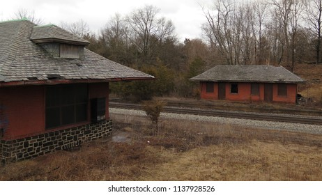 Remains of an old abandoned brick train station.