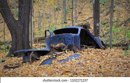 remains of an old abandoned car