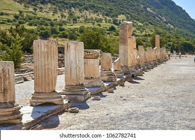 Remains of old basilica at the ancient Efes (Efesus) city in Turkey