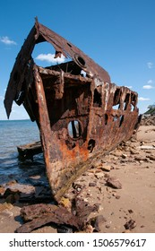 The remains of an old coastal steamer now located at Redcliffe, Queensland