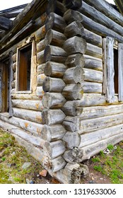 remains of old dilapidated disassembled timbered  home