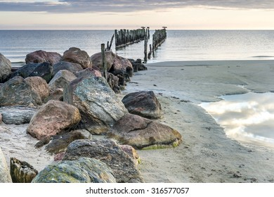 Remains of old fishing pier, Baltic Sea