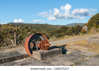 remains of old goldmine in Waiuta, West Coast, South Island, New Zealand