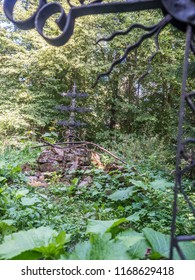 Remains  from the orthodox church - cemetery in Beniowa village. Bieszczady County, Subcarpathian Voivodeship, in south-eastern Poland, close to the border with Ukraine. Europe