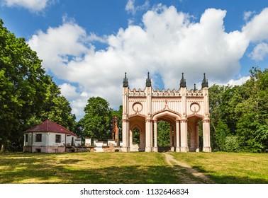 Remains of Pac Castle under blue cloudy sky, Dowspuda, Poland