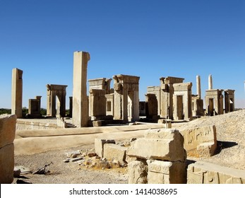 Remains of Palace of Xerxes in Persepolis, ex capital of Ancient Persia, near Shiraz, Iran. Fire that destroyed whole city began in this place. Because of this Persepolis is most kept ancient city