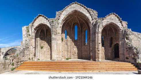 """The remains of """"Panagia tou Bourgou"""" (""""Our Lady of the Burgh"""") church in the Medieval town of Rhodes island, Greece"""
