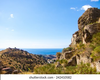 Remains of Pentedattilo with Mountains and Mediterranean Sea, Calabria, Italy