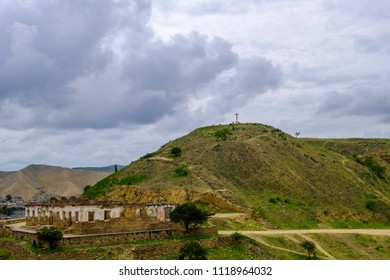Remains of Portugese fort and cross on hillside outside city of Lobito Angola