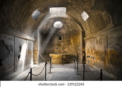 Remains of the public baths in Pompeii, the famous roman city near Naples (Italy) that was completely destroyed by the eruption of Mount Vesuvius in 79BC.