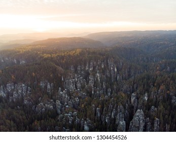 Remains of rock city in Adrspach Rocks, part of Adrspach-Teplice landscape park in Broumov Highlands region of Czech Republic. Aerial photo.