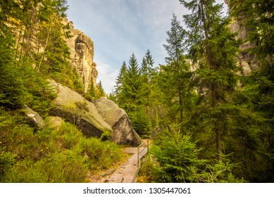 Remains of rock city in Adrspach Rocks, part of Adrspach-Teplice landscape park in Broumov Highlands region of Czech Republic. Aerial photo of forest.