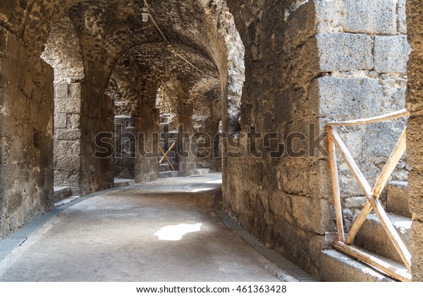 Remains of the Roman amphitheatre in the historic centre of Catania, Sicily island, Italy
