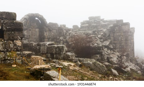 Remains of Roman theatre in ancient city of Sagalassos on misty winter day, Burdur Province, Turkey
