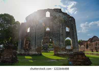 Remains of the ruins of the architecture of the palace of King Narai is ancient and is a popular tourist attraction. Lopburi Province, Thailand