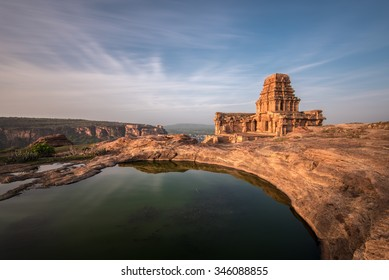 The remains of Shiva temple of the Chalukya period atop the north fort at Badami, Karnataka