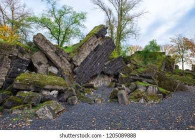 "Remains of the so-called ""Hindenburg"" Bridge in Rüdesheim/Germany, which was blown up during World War II"