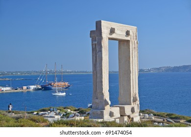 The remains of the Temple of Apollo on Naxos, Greece. The monumental entrance overlooking the port of Naxos, dating from 530BC