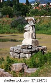 Remains of Temple of Artemis in Ephesus (Efes), Turkey