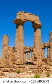 Remains of Temple of Hera Lacinia (Juno), an ancient Greek Doric Temple, Agrigento, Sicily, Italy