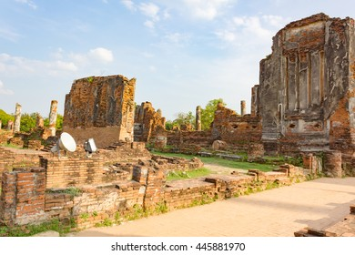 The remains of the temple ruins in Ayutthaya, Thailand.