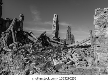 The remains of a town in Aragon that was completely destroyed during the Spanish civil war - Belchite - Spain