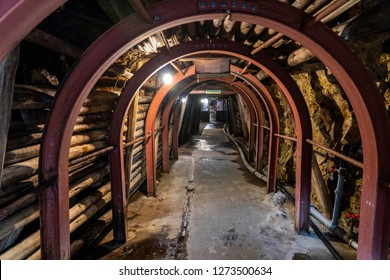 The remains tunnel of gold mine at Sado island in Niigata, Japan