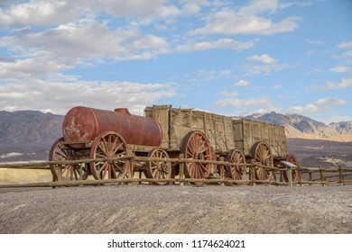 Remains of  Twenty-mule-team wagons used to transport material from the Borax mine works in Death Valley, California.