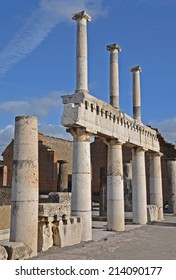 The remains of the two tier colonnade on the forum, Pompeii, Italy - Shutterstock ID 214090177