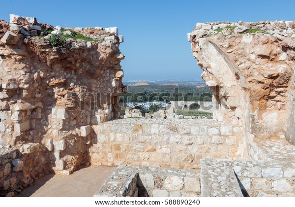 Remains of walls and buildings in the Yehiam fortress.Yehiam is situated next to the ruins of the Ottoman-era castle of Jiddin, built on top of the 13th-century Crusader castle of Judin.