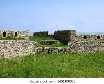 Remains of walls & corner tower of medieval Shusha Castle in Shusha, Nagorno-Karabakh Republic. Fortress is included in Shusha State Historical & Architectural Reserve
