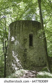The remains of the walls of the once mighty Ehrenfels Castle near Beratzhausen in the Black Labs Valley are on the top of a wooded hill