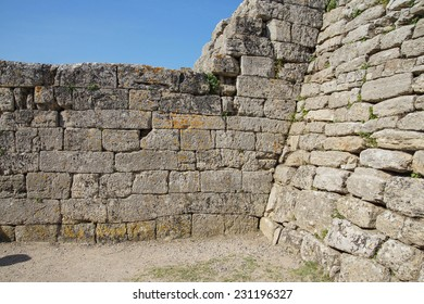 Remains of the walls of Troy, possibly Priam's city of the Iliad, . Turkey