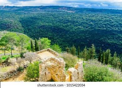 Remains of the Yehiam Fortress, from the Crusader and Ottoman period, and landscape of Yehiam Stream, in the western Upper Galilee, Northern Israel