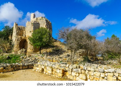 Remains of the Yehiam Fortress, from the Crusader and Ottoman period, in the western Upper Galilee, Northern Israel