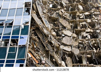 remarkable ruins of building under destruction with part of the surface wall and windows still intact - from a series