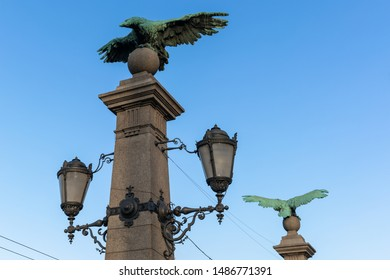 Remarkable statues of Eagles Bridge (Orlov most) Sofia, Bulgaria on a summer day with cloudless sky
