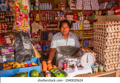 REMATE, PETEN, GUATEMALA - AUGUST 12, 2008: Independent shop keeper in his store.