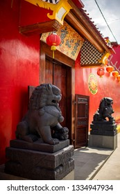 Rembang, Central Java / Indonesia - October 13, 2016 : Heritage chinese style house in Lasem subdistrict nicknamed Little China or Tiongkok Kecil.