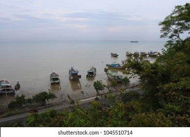 Rembang-February 5, 2018: the coastal highway seen at Lasem is photographed from the top of the hill