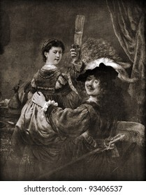 """Rembrandt Harmenszoon van Rijn """"The artist and his wife"""". Reproduction from illustrated Encyclopedia """"Treasures of art"""", Partnership «Prosvesheniye», St. Petersburg , Russia , 1906"""
