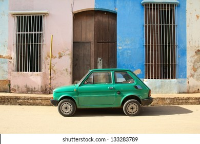 REMEDIOS, CUBA - FEBRUARY 20: Old Polish car Fiat 126 on February 20, 2011 in Remedios, Cuba. New change in law allows Cubans to trade cars. Cars in Cuba are very old because of the old law.