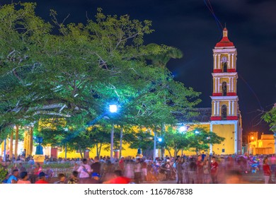 Remedios Cuba: traditional Christmas festival in the colonial town. The event is a major tourist attraction in the Caribbean Island